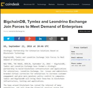 Strategic Partnership for Enterprise Solutions based on Blockchain Technology