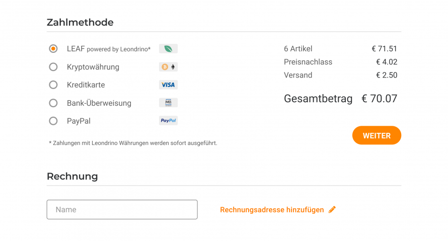 Token payment example DE